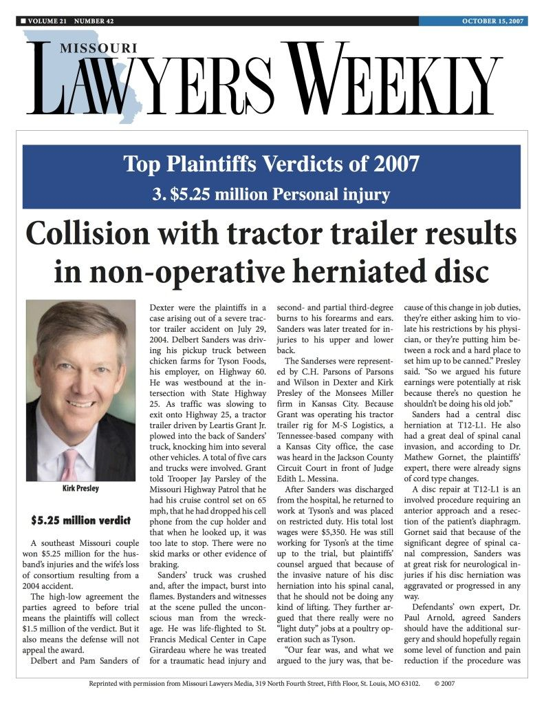 Collision with Tractor Trailer Results in Non-Operative Herniated Disc